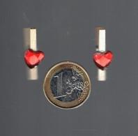 Lot De Deux Pinces à Linge Miniature En Bois Avec Coeur - Other