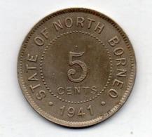 BRITISH INDIA - STATE OF NORTH BORNEO, 5 Cents, Copper-Nickel, 1941, KM #5 - India