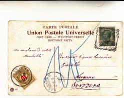 Gerusalemme,Timbro Tondo Riquadrato Su Francobollo Da 5 Cent. Sovrastampato - Gerusalemme 10 Para . Post Card Per Lugano - Bureaux D'Europe & D'Asie