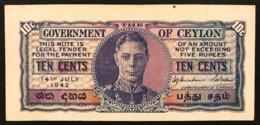 CEYLON 10 CENTS  BRITISH COLONY OF CEYLON 1942 PICK#43  Lotto 2937 - Sri Lanka
