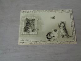 Chat ( 128 )  Kat  -  Carte Gaufrée  Reliëf  -  Chien  Hond - Chats