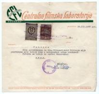 1958 YUGOSLAVIA, SERBIA, BELGRADE, CENTRAL FILM LABORATORY, FILMSKI GRAD, 2 REVENUE STAMPS - 1945-1992 Socialist Federal Republic Of Yugoslavia