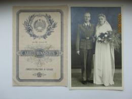 RARE! ESTONIAN IN GERMAN POLICE BATTALION WEDDING 1942 PHOTO And SOVIET WEDDING SERTIFICATE   ,0 - 1939-45