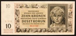 BOHEMIA & MORAVIA 10 KORUN Pick#8 1942  Sup/unc Lotto.2938 - Czechoslovakia