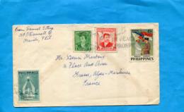 MARCOPHILIE-PHILIPPINES *Lettre >France Cad 1954 4stamps N° 410 Visite Soekarno +412 International Fair - Filipinas
