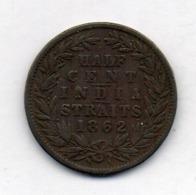 BRITISH INDIA - INDIA STRAITS, 1/2 Cent, Copper, 1862, KM #5 - Indien