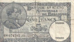 BELGIQUE 5 FRANCS 1931 VG+ P 97 - 5 Franchi