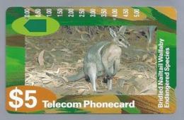 AU.- Telelecom Phonecard $5. Bridled Nailtail Wallaby Endangered Species. Australia. AUSTRALIË. N920512.- 0000023423415 - Tarjetas Telefónicas