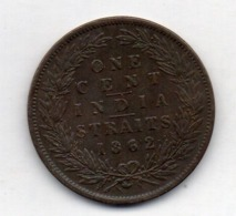 BRITISH INDIA - INDIA STRAITS, 1 Cent, Copper, 1862, KM #6 - India
