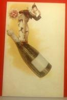 PIERROT Su Bottiglia Di Champagne CARTOLINA Riproduzione Non Viaggiata - Fancy Cards