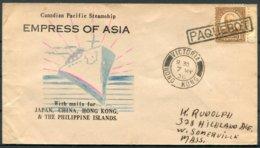 1936 Hong Kong Victoria / USA PAQUEBOT Ship Cover. EMPRESS OF ASIA, Canadian Pacific Steamship - Hong Kong (...-1997)