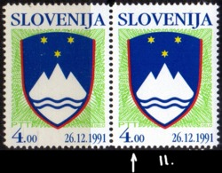 SLOVENIA - COAT OF ARMS - Michel 3II **MNH - 1991 - ERROR - Slovenia