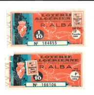 KB289 - BILLETS DE LOTERIE ALGERIENNE - ALBA - Billets De Loterie