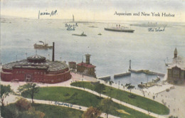 Cpa New York, Aquarium And New York Harbour, Ellis Island, Liberty Statue, Paquebot - New York City