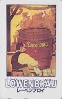RARE Télécarte Japon / 110-011 - POSTER Tonneau BIERE LÖWENBRÄU / GERMANY  - BEER  Japan Phonecard - BIER - 844 - Publicidad
