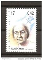BELGIO - 1999 GOLDA MEIR, Politico Prima Donna Premier D'Israele Nuovo** MNH - Donne Celebri