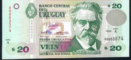 URUGUAY P74a 20 Pesos 1994 Série A Low # 00003572  UNC. - Uruguay