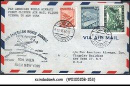 AUSTRIA - 1946 PAN AMERICAN WORLD AIRWAYS VIENNA To NEW YORK - 3V - FFC - Primi Voli AUA