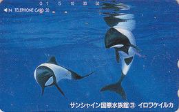 Télécarte Japon / 110-011 - ANIMAL - BALEINE ORQUE - ORCA WHALE Japan Phonecard - 341 - Delfines