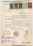 1937 JUDAICA, YUGOSLAVIA, CROATIA, SLAVONSKI BROD, JEWISH MUNICIPALITY LETTER, 5 REVENUE STAMPS - Historical Documents