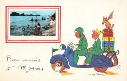 37 Mosnes Bien Arrivés à Mosnes Fantaisie Illustration Illustrateur + Photo Format Cpa Scooter Moto - Autres Communes