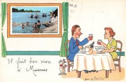 37 Mosnes Il Fait Bon Vivre à Mosnes Fantaisie Illustration Illustrateur + Photo Format Cpa Cachet 1957 - Autres Communes