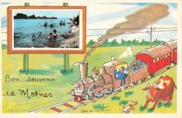 37 Mosnes Bon Souvenir De Mosnes Fantaisie Illustration Illustrateur + Photo Format Cpa Train Cachet 1958 - France