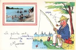 37 Mosnes La Peche Est Bonne à Mosnes Fantaisie Illustration Illustrateur + Photo Format Cpa Pecheur à La Ligne - France
