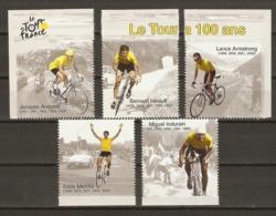 France 2003 - Le Tour De France A 100 Ans - Petit Lot De 5 Vignettes Issues Du Bloc BF59 - Anquetil - Hinault - Merckx - Vignetten (Erinnophilie)