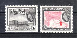 Guyana  British - 1954. Vista Di Georgetown E Carta Geografica. View Of Georgetown And Map Of Guyana. MNH - Geografia