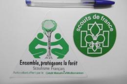 """Autocollants Stickers - Scouts De France """"Protégeons LA FORÊT"""" Le Scoutisme Français Et Le Crédit Mutuel Méditerranéen - Aufkleber"""
