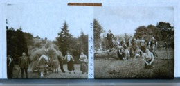 Plaque De Verre - 2 Vues - Le C.V. Au Haut Du Tot - Agriculteurs - Paysans - Attelage De Boeufs - Fermiers - Animée - Plaques De Verre