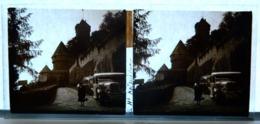 Plaque De Verre - 2 Vues - Le Haut Koenigsbourg - Camionette - Bus - Animée - Plaques De Verre
