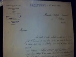 Document à Entête Train Chemin De Fer De L Est EXPLOITATION Region BELFORT Année 1930 - Verkehr & Transport
