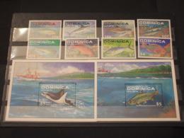 DOMINICA - 1988 PESCI 4 + 4 VALORI + 2 BF -  NUOVI(++) - Dominica (1978-...)