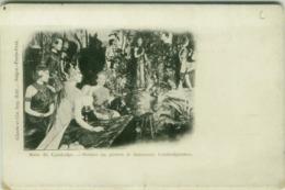 CAMBODIA / CAMBODGE - STATUES EN PIERRES ET DANSEUSE CAMBODGIENNES - EDIT CLAUDE ET CIE - SAIGON 1900s (BG4787) - Cambodge