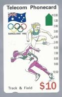 AU.- Telelecom Phonecard $10. Track & Field. Barcelona 1992. Australia. AUSTRALIË.  N91044-3-3.- 0000016794072 - Jeux Olympiques