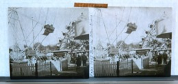 Plaque De Verre - Stéréo - Paris - Expo 1937 - Parc Des Attractions - Grande Roue - Animée - Glass Slides
