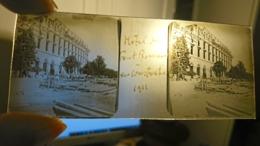 HOTEL DE FONT ROMEU EN CONSTRUCTION EN 1911 - PLAQUE DE VERRE PHOTO STEREO 10.5 X 4.5 CM PYRENEES ORIENTALES - Plaques De Verre