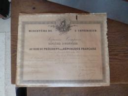 Diplome D'honneur De Sapeurs Pompiers De Rouilly En 1896 - Firemen