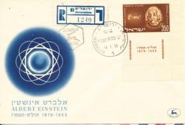 Israel Registered FDC 8-1-1956 Albert Einstein With Full Tabs - Albert Einstein