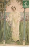 Illustrateur FEMME DANS UN JARDIN LYS A LA MAIN Charme Art Nouveau - Künstlerkarten