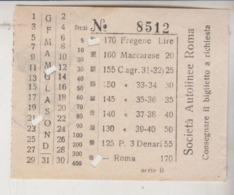 Biglietto Ticket Fregene / Maccarese Roma Società Autolinee Roma - Europa