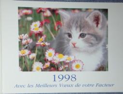 Petit Calendrier De Poche 1998 La Poste PTT Meilleurs Voeux Facteur  Chat Chaton Lavigne - Calendars