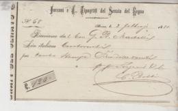 Ricevuta 1881 Forzani E C. Tipografi Del Senato Del Regno - Historische Dokumente
