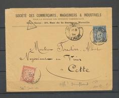 1894 Env. Avec Taxe 30c Saumon N°90 Superbe X5107 - Lettere Tassate
