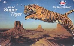 Télécarte Japon / 110-011 - Animal -  Felin TIGRE ESSO & Desert USA - TIGER Feline Japan Phonecard Essence Pétrole - 416 - Selva