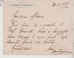 SENIGALLIA ANCONA  PODESTA' CON FIRMA 1941 - Historische Dokumente