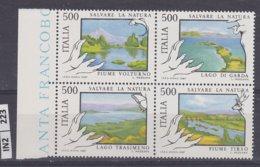 ITALIA   1987Salvare La Natura Blocco Mosaico Di 4 Nuovi - 6. 1946-.. República