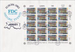 Jersey 1982 FDC Europa CEPT Complete Sheet (L58-16) - Europa-CEPT